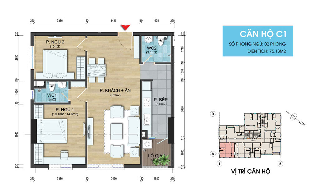 Can C1 chung cu Dream Center Home 282 Nguyen Huy tuong