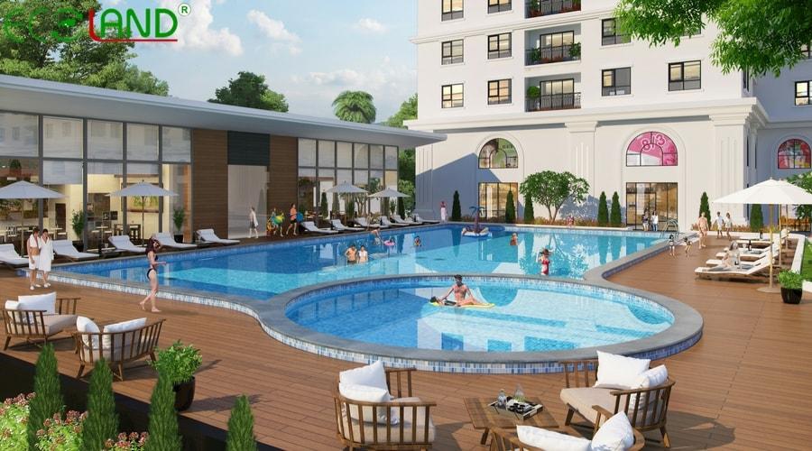 Bể bơi dự án 32 đại từ eco lake view hoàng mai