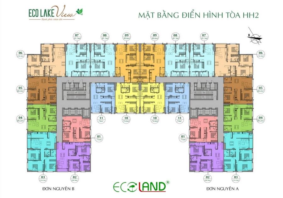 Mặt bằng điển hình tòa hh2 chung cư eco lake view 32 đại từ