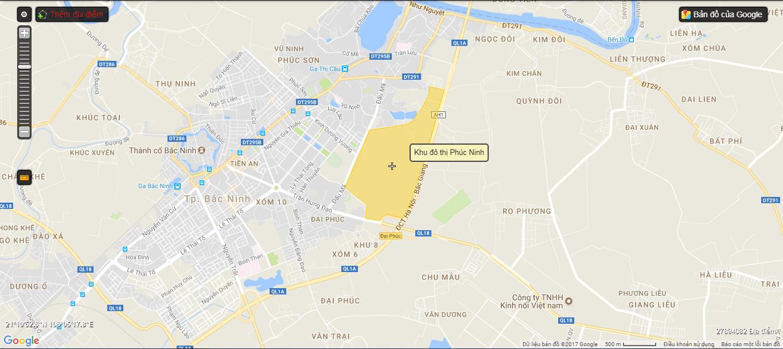 Vị trí dự án khu đô thị Phúc Ninh